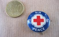 SIX PENCE RED CROSS SUPPORT BRITISH PIN