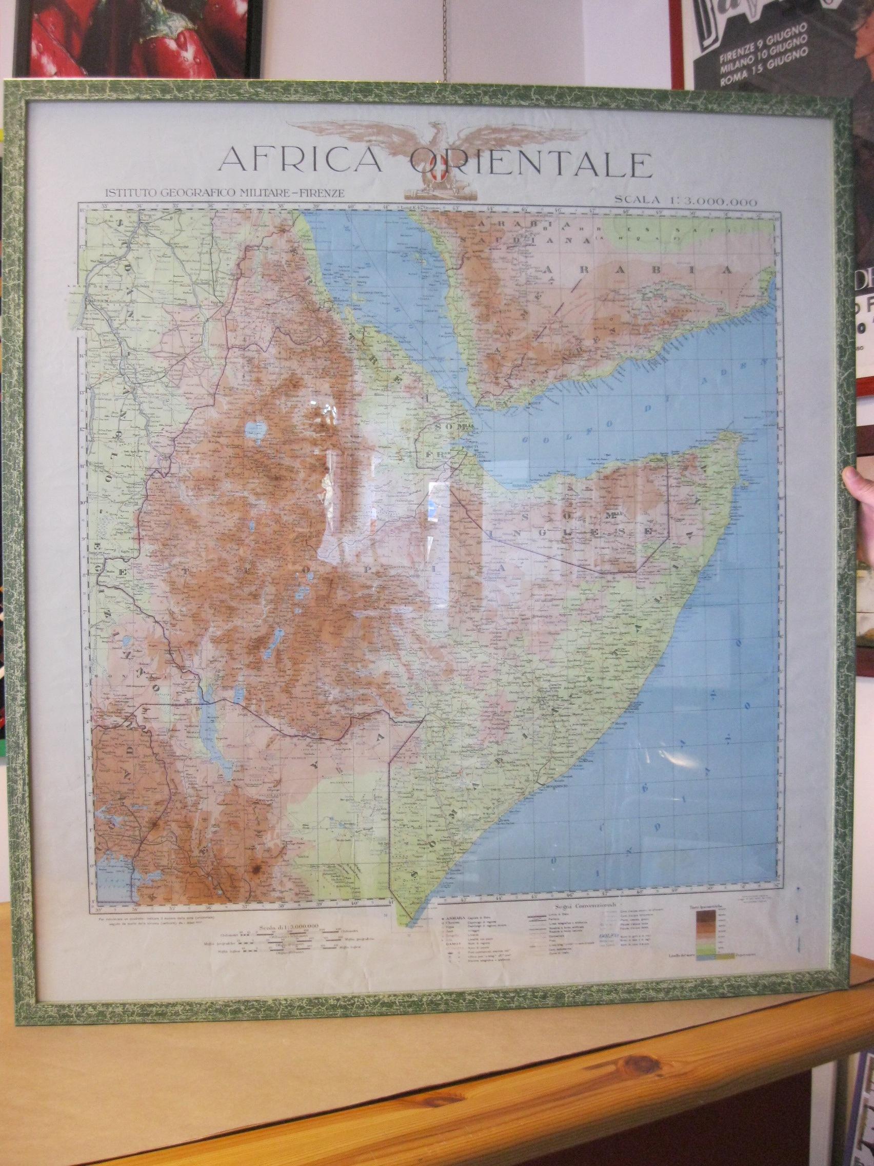 Cartina Geografica Italia Africa.Cartaceo Grande Cartina Geografica Africa Orientale Italiana